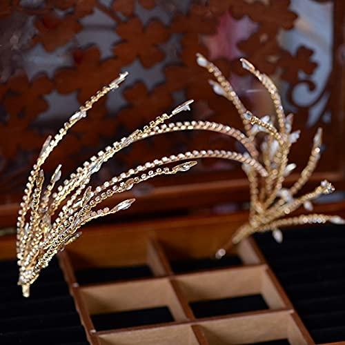 PPuujia Diadema para el pelo con diamantes de imitación barroco con diseño de hojas para mujer, para novia, boda, accesorios para el cabello, joyería de corona (color metálico: oro)