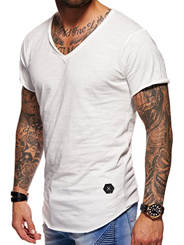 behype. Herren Oversize Kurzarm Basic T-Shirt V-Neck 20-1720 Weiß M