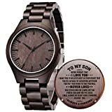 to My Son Gifts from Mom Dad - Son Birthday Graduation Wedding Gifts, Personalized Wood Watches for Men, Customized Engraved Gifts for Men