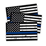 Reflective American US Flag Decal, 3 PCS 5' x 3' New Tattered Thin Blue Line US Flag Decal Stickers, Compatible with Cars & Trucks for Window Bumper Tape, Support US Military, Police and Law Enforcement Officers (Black)