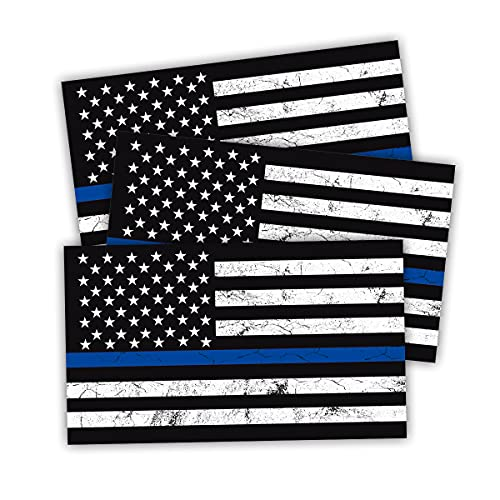 """Reflective American US Flag Decal, 3 PCS 5"""" x 3"""" New Tattered Thin Blue Line US Flag Decal Stickers, Compatible with Cars & Trucks for Window Bumper Tape, Support US Military, Police and Law Enforcement Officers (Black)"""