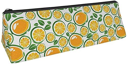 Bolsa de lápiz triangular con diseño de hojas de frutas y limón, bolsa de cosméticos, bolsa con cremallera para almacenamiento diario de objetos pequeños en la escuela, oficina, viajes o maquillaje.