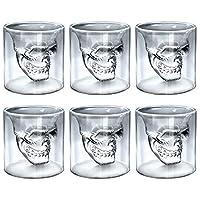 💀 6x Totenkopfgläser von ALANDIA Barware (Bessere Glasqualität als vergleichbare Angebote) 💀 Jedes Totenkopf Glas besitzt eine Füllmenge von 80 ml (die Gläser sind ideal als ausgefallenes Absinth Glas, für einen Shot oder auch einen kräftigen Espress...