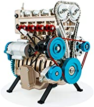 DjuiinoStar Vehicle Engine Model Assembly Kit (300+ Pieces Components, 5 Hours Assembly Time), Four-Stroke Straight-Four Gas Engine Working Model, 4 Cylinder Engine Kit DM13-1