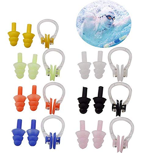 HOMEJU 7 Sets Waterproof Soft and Flexible Silicone Swimming Earplugs and Nose Clip - for Swimming, Sleeping, Surfing, Showering - for Adults and Children
