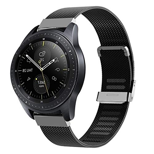 Keweni Cinturino Compatibile con Samsung Galaxy Watch 42 mm, Cinturino di Ricambio a Sgancio Rapido per Galaxy Active 2 40 mm 44 mm/Active 40 mm/Gear Sport (Nero)