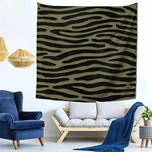 Gbyuhjbujhhjnuj Tapiz de rayas verdes de cebra o camuflaje – Tapiz de pared con estampado de animales punk, para dormitorio, sala de estar, bar, tapiz montado en la pared de 152 x 152 cm