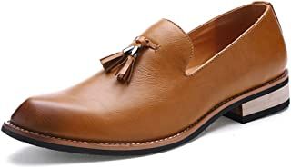 CAIFENG Oxford Zapatos for Hombres Zapatos Formales Slip on Style PU Cuero Classic Borla Moda Color Puro (Color : Brown, S...