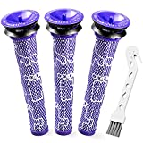 Pre Filters Replacement for Dyson V6 V7 V8 DC58 DC59 Absolute Animal Motorhead Vacuum Replaces 965661 01 Complement Kit with 3 Pack Filters and 1 Cleaning Brush