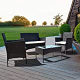 <span class='highlight'>bigzzia</span> 4 PCS <span class='highlight'>Garden</span> <span class='highlight'>Furniture</span> <span class='highlight'>set</span> <span class='highlight'>Rattan</span> Outdoor Table Chair Sofa With Tempered Glass Table