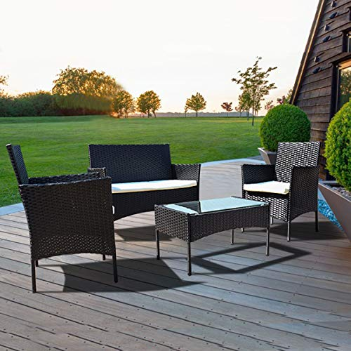 bigzzia 4 PCS Garden Furniture set Rattan Outdoor Table Chair Sofa With Tempered Glass Table