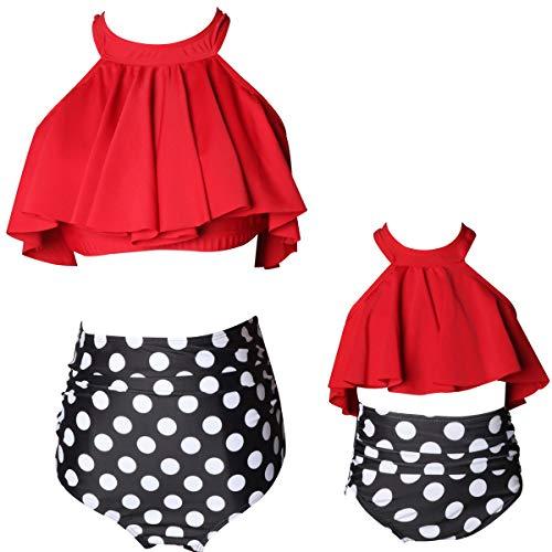 Girl Bathing Suit Falbala Ruffle Women Swimsuit Bikini High Waist Family Swimwear Bathing Suits 2 Piece Flounce Swimsuit Beachwear for Kids (Red, Girl 5-6 T)