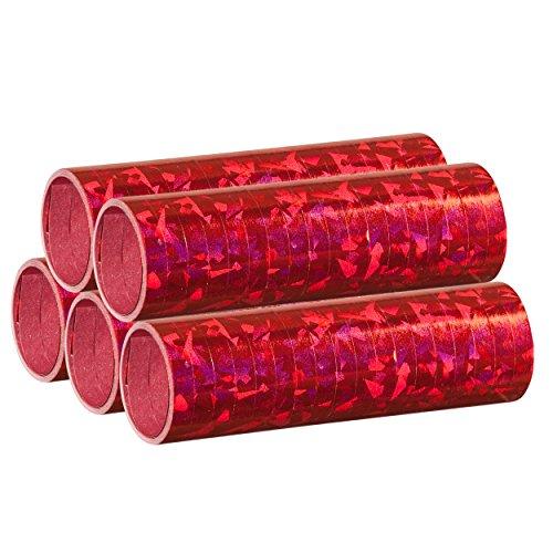 Rote Metallic Luftschlangen im 5er Sparpack - 5 Rollen mit je 18 holografisch-glitzernden Luftschlangen - für Karneval, Fasching, Geburtstag, Silvester, Dekoration - PARTYMARTY GMBH® Made in Germany