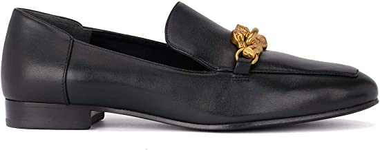Tory Burch Women's Black Leather Jessa Loafer Gold Buckle