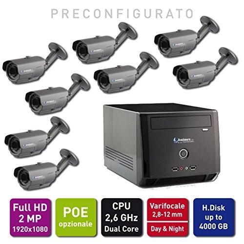 Jenimex Kit di Videosorveglianza Entry XLight IP Ful HD 2 MP :NVR + 8 Telecamere IP FullHD 2MP 1920x1080; inclusi nel prezzo preconfigurazione e supporto tecnico del produttore per 12 mesi