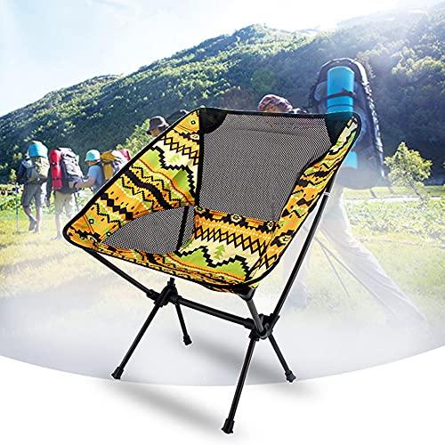 AIMCAE Silla de Camping Ultraligera, Silla de Picnic Ligera Plegable, sillas de Playa portátiles, sillas compactas para mochileros de Senderismo con Bolsa de Transporte,Amarillo