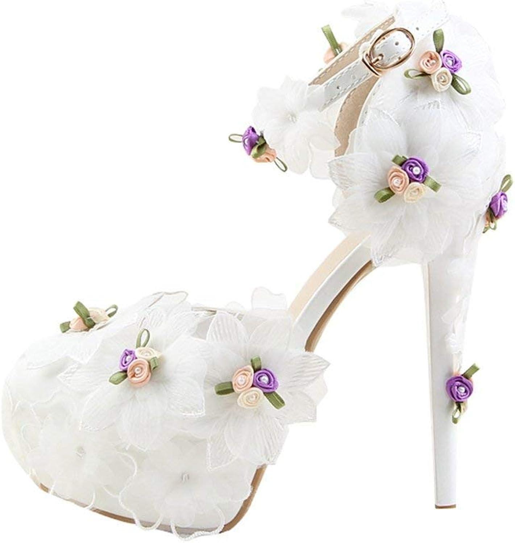 ZHRUI Damen versteckt Plattform Stöckelabsatz Stöckelabsatz Stöckelabsatz Weiß Braut Hochzeit Schuhe mit Spitze Blaumen UK 4 (Farbe   -, Größe   -)  3d83c9
