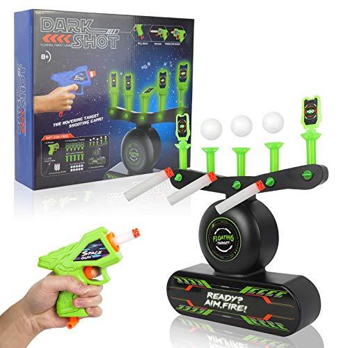 STOTOY Glow in The Dark Shooting Games - Compatible Nerf Target, Juego de Tiro de Bolas Flotantes para Niños con Pistola de Dardos de Espuma, 10 Blancos de Bolas Flotantes y 5 Blancos Volteabl