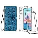 [2 Pack] Funda para Xiaomi Redmi Note 10 4G + Protector de Pantalla Cristal Templado, Carcasa Libro con Tapa Antigolpes Case Silicona TPU Color Transparente + Azul