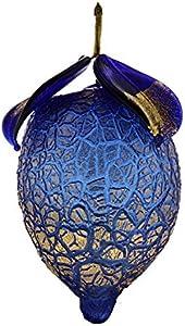 Bombonera de limón soplado con hoja dorada de la colección Fruta, cristal de Murano Made in Italy
