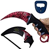 Magnolia Gear KARAMBIT CSGO Knife Skins Tactical Knife   Neck Knife Easy to Carry with Rope, Sheath and Sharpener   Perfect for Hunting Fishing Camping Survival   Personal Self Defense Crimson