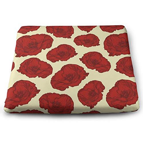 Memory Foam Pad zitkussen. Autostoel kussens om hoogte te verhogen - bureaustoel Comfort kussen - rode papaver bloemenprint