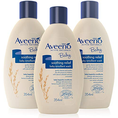 AVEENO Baby Soothing Relief Emollient Wash - Gently Cleanses and Soothes - Aveeno Body Wash - Baby Essentials - 3 Pack (3 X 354ml) [Packaging May Vary]
