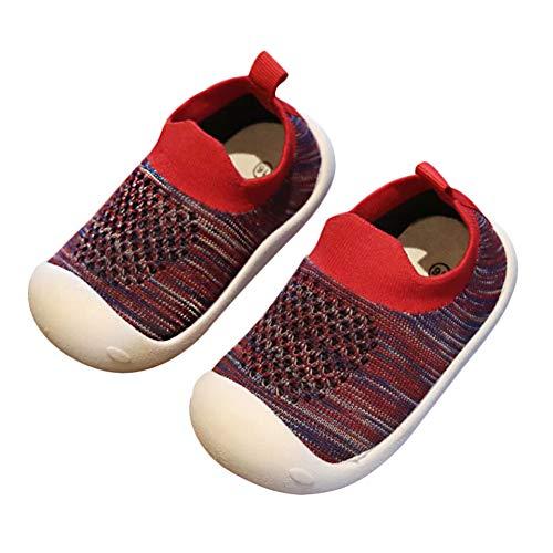 Tênis infantil de 1 a 5 anos da Debajia para bebês meninos e meninas macios e bonitos, Bm02 Stripe-red, 3 Toddler