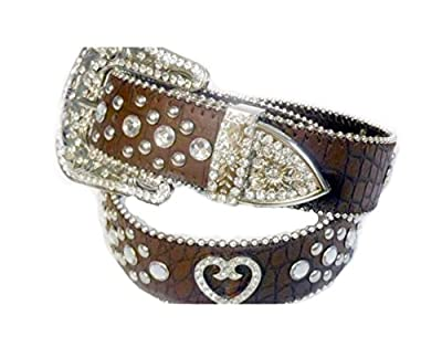 Deal Fashionista BROWN HEART Concho Western Rhinestone Bling Studded Removable Buckle Belt