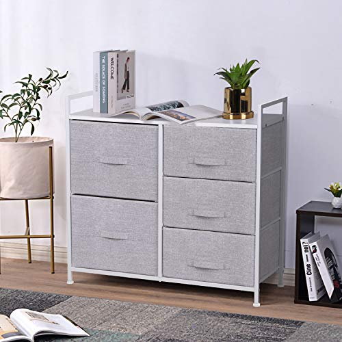 Joolihome Chest of Drawers, Storage Wardrobe Cabinet with 5 Fabric Drawers & Metal Frame, Cloth Organizer Unit for Living Room, Bedroom, Kids Room, Dorm Room, Hallway (Grey)