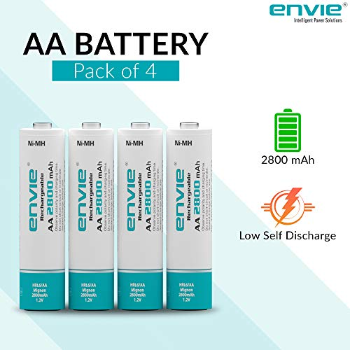Envie 4xAA 2800mAH Ni-MH Rechargeable Batteries (White)