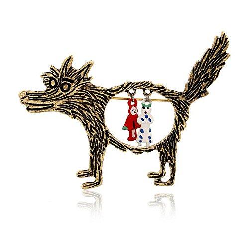 Toruiwa Broschen Accessoires Broschen Kleidung Broschen für Kleider JOYERIA ehemaligen Vintage Damen Märchen Rot Kleine Brosche Wolf Rotkäppchen Brosche 6.8* 5.2cm