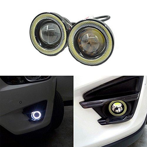 Qiyun 2pz Fari Angel Eyes LED COB auto fendinebbia antinebbia universale impermeabile 1200LM DRL 12V 30W, 3 pollici - luce bianco