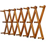 Dseap Accordian Wall Hanger: Wooden Coat Rack Wall Mounted, Hat Racks for Baseball Caps, Mug Rack, 20 Peg Hooks, Brown