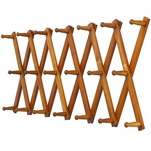 Dseap Accordian Wall Hanger Wooden Coat Rack Wall Mounted Hat Racks for Baseball Caps Mug Rack 20 Peg Hooks Brown