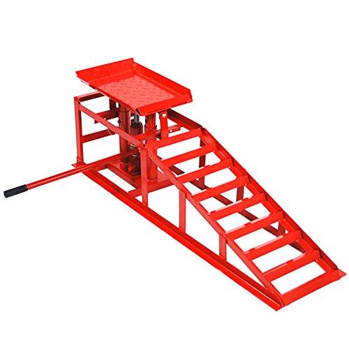 Helo 1x KFZ Auffahrrampe mit Wagenheber hydraulisch 2 T Hebelast (rot), höhenverstellbar (max. 245 mm Reifenbreite), PKW Rampe mit integrierter Wagenheber Hebebühne