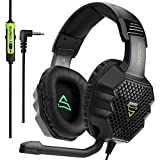 PS4 Gaming Headset,SADES G811 3.5mm Wired Over Ear Gaming Headphones with Microphone Flexible Noise Cancelling Volume Control for PC/Mac/PS4/New Xbox One/Table/Phone,Mat Black