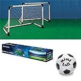 Set 2 Porte Porta Calcio Calcetto Pallone Allenamento Rete Sport Mondo 91,5x63cm
