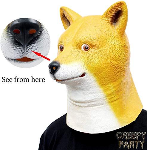 CreepyParty Halloween Kostüm Party Tierkopf Latex Maske Shiba Hund Doge
