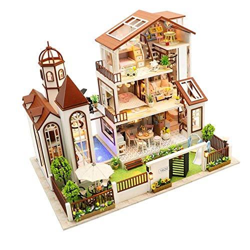 FFYUGO DIY Doll Maison, Maison en Bois Miniature Modèle Kit, Casse-têtes 3D modèle de Construction, Produits de l'artisanat, Cadeaux de Vacances, Jouets éducatifs
