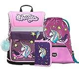 Schulranzen Mädchen Set 3 Teilig - Zippy Schultasche ab 1. Klasse - Grundschule Ranzen mit Brustgurt - Ergonomischer Schulrucksack (Einhorn)
