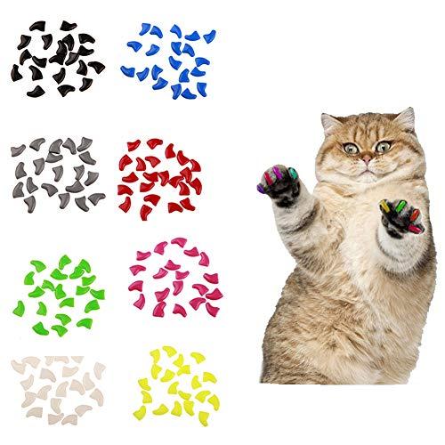 Catkoo Katzenzubehör, 20 Stück, weiche Kunststoff-Kappen für Katzen, Pfotenschutz, Abdeckung mit Kleber, weiß, S