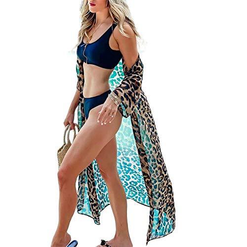 Carolilly Copricostume Donna Mare Cardigan Donna Lungo Estivo Abito da Spiaggia Bikini Cover Up Sexy Elegante Vestito Donna Boho per Vacanza Copricostume Lungo (Leopardato, Taglia Unica)