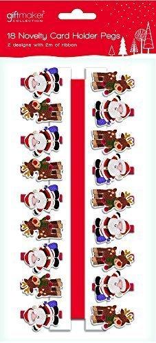 Home Collection 18 X Motif en Bois de Père Noël et pour Arbre de Noël Cartes de fiches et 2 mètres de Ruban