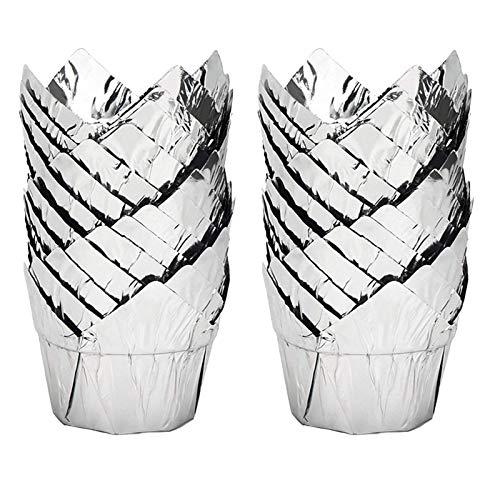 50 Hornear Papel Vasos para Cupcakes Moldes Papel Copa Horneado Tazas de Papel Cupcakes 5cm Papel Moldes para Hornear Desechables Revestimientos para Boda Cumpleaños Fiesta de Navidad Pascua (Plata)