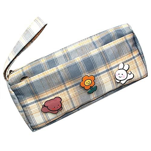 Ganghuo Bolsa para lápices de dibujos animados con impresión a rayas, ligera, de gran capacidad, para cosméticos, bolsa de almacenamiento para niños y niñas