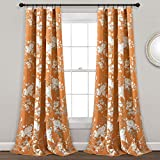 Lush Decor, Orange Botanical Garden Curtains Floral Bird Print Room Darkening Window Panel Drapes Set for Living, Dining, Bedroom (Pair), 95' x 52'