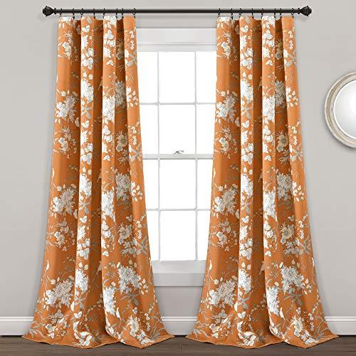 Lush Decor, Orange Botanical Garden Curtains Floral Bird Print Room Darkening Window Panel Drapes Set for Living, Dining, Bedroom (Pair), 95