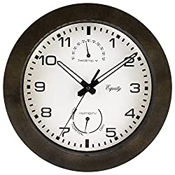 Equity by La Crosse 29005 Outdoor Thermometer and Humidity Wall Clock, 10, Brown