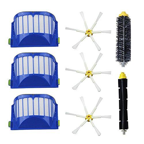 8 pcs/lot Aerovac filtre, brosse latérale, poils et Batteur Souple Brosse Combo pour iRobot Roomba 600 610 620 625 630 650 660
